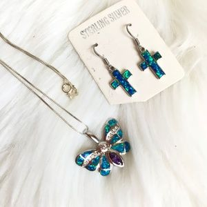 Jewelry - Opal butterfly necklace and cross earring set, New